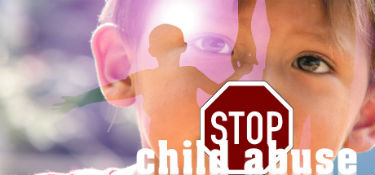 child and stop sign with the words, stop child abuse