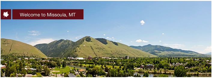 Welcome to Missoula, Montana. A view of the valley including the UM campus.